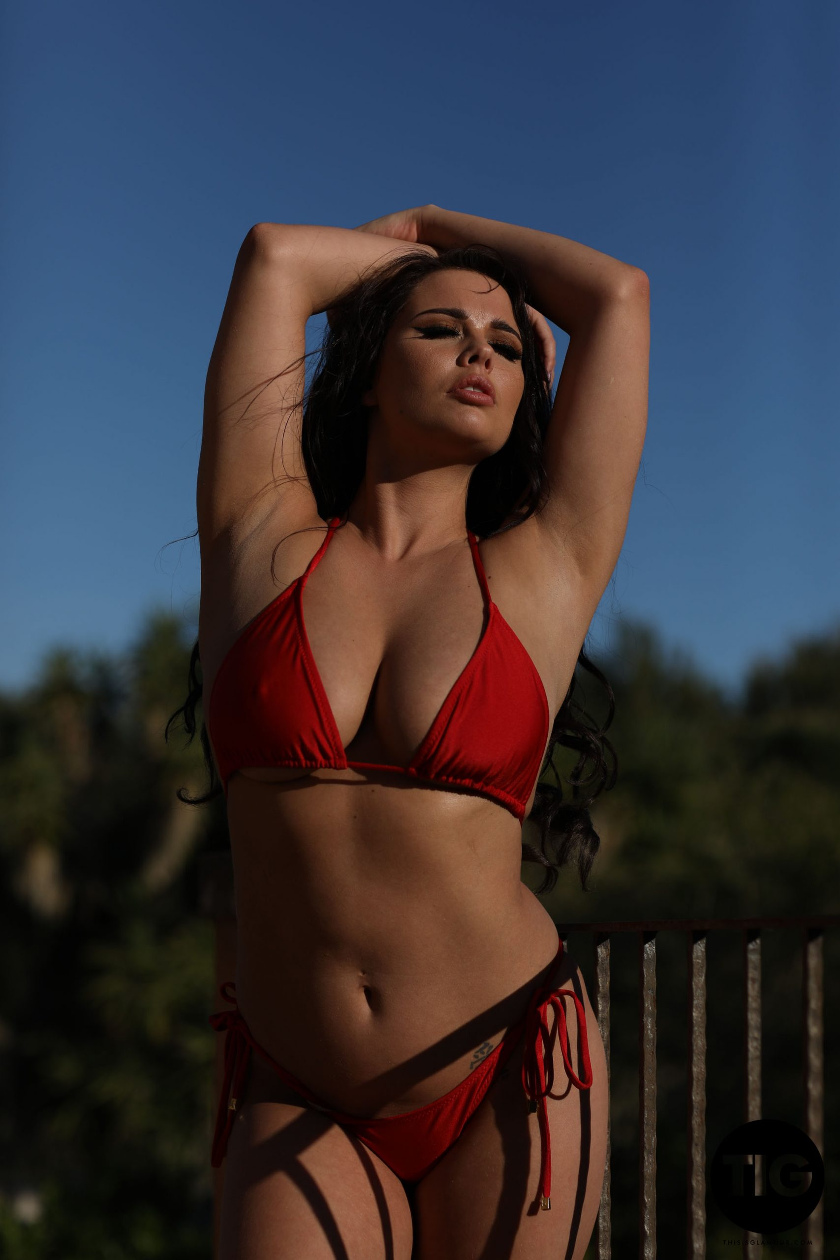 Kym Graham Big Tits in Red Bikini