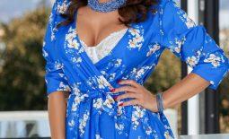Lisa Ann Big Tits in Silky Blue Minidress