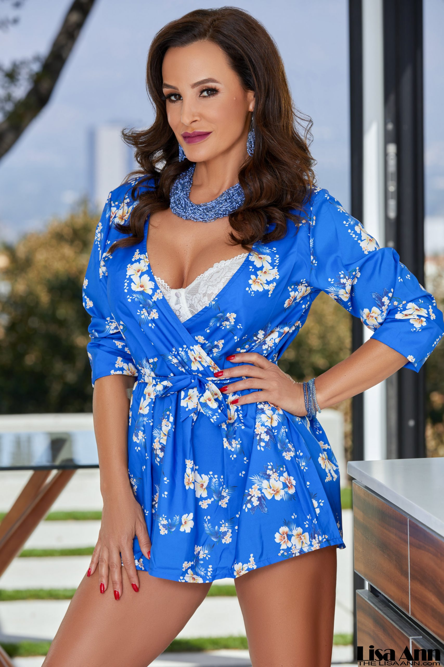 Lisa Ann Big Tits in Silky Blue Minidress