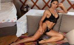 Irene Big Tit Fit Girl in Black Lingerie for Photodromm