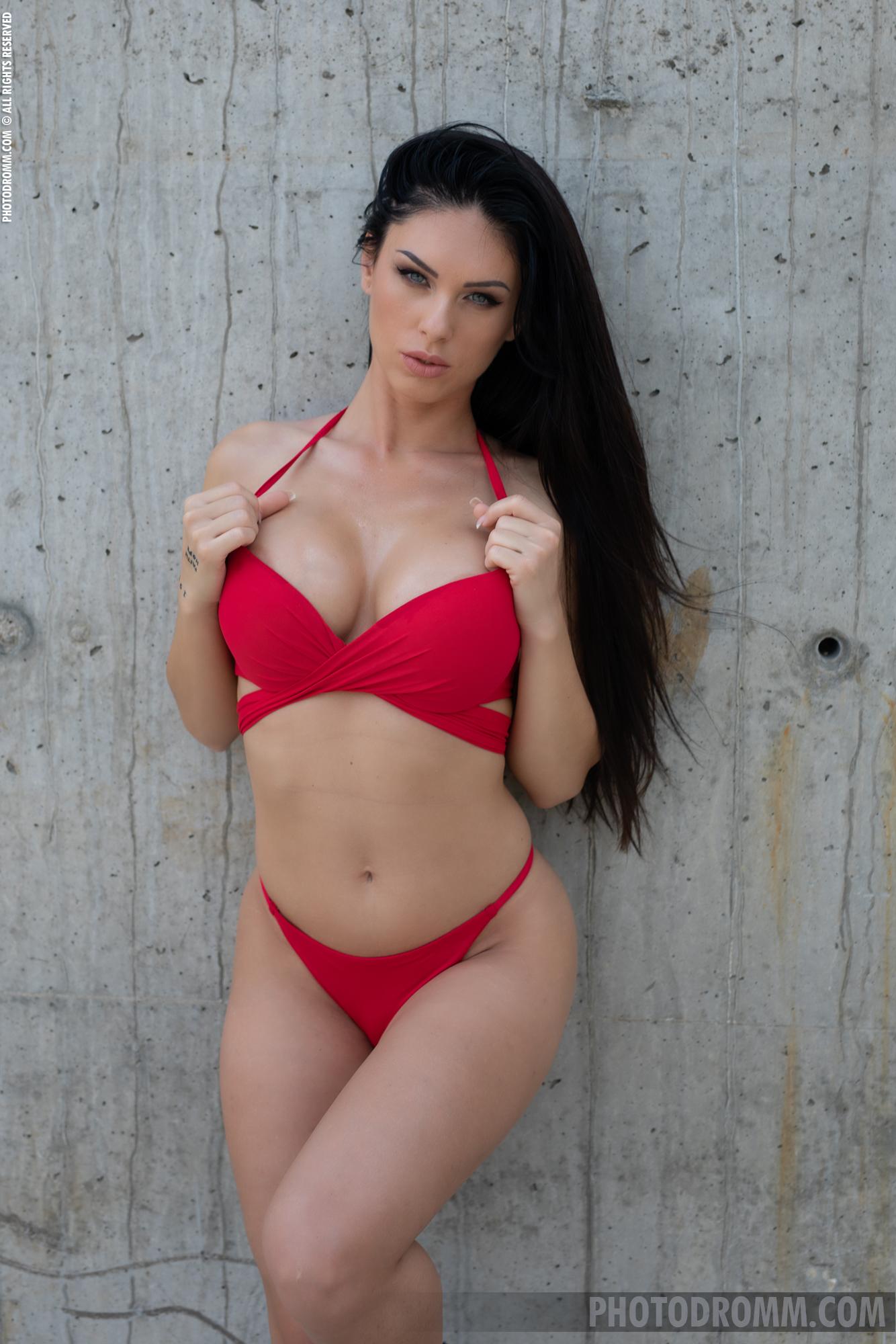 Megan Big Tits in Red bikini for Photodromm