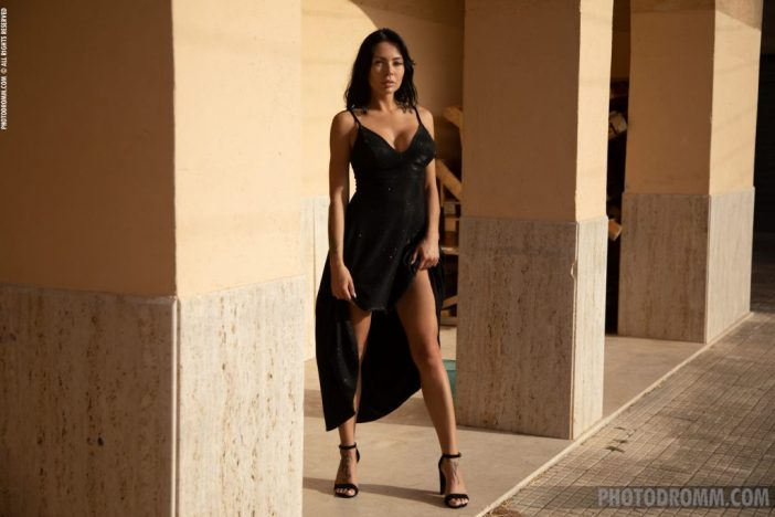 Claire Big Tits in Sexy Black Dress for Photodromm