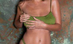 Holly Peers Big Tits in Green Bikini