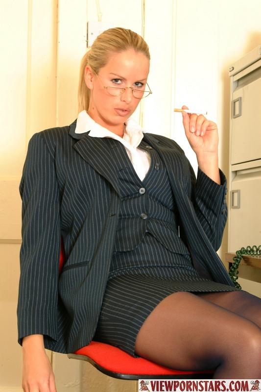 Adele Stephens Big Tits Boss in Pinstripe Miniskirt