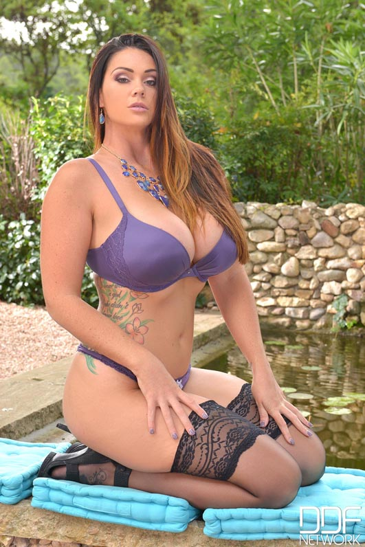 Alison Tyler Big Tits Purple Bra and Stockings