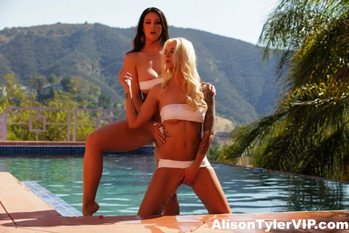 Alison Tyler and Brooke have Naked Huge Boob Lesbian fun at the Pool