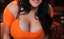 Ana Rica Huge Boobs in Orange Top