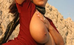 Aneta Buena Huge Tits Come out of Tight Red Dress
