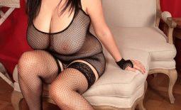 Arianna Sinn Huge Boobs  Fishnet Black Lingerie