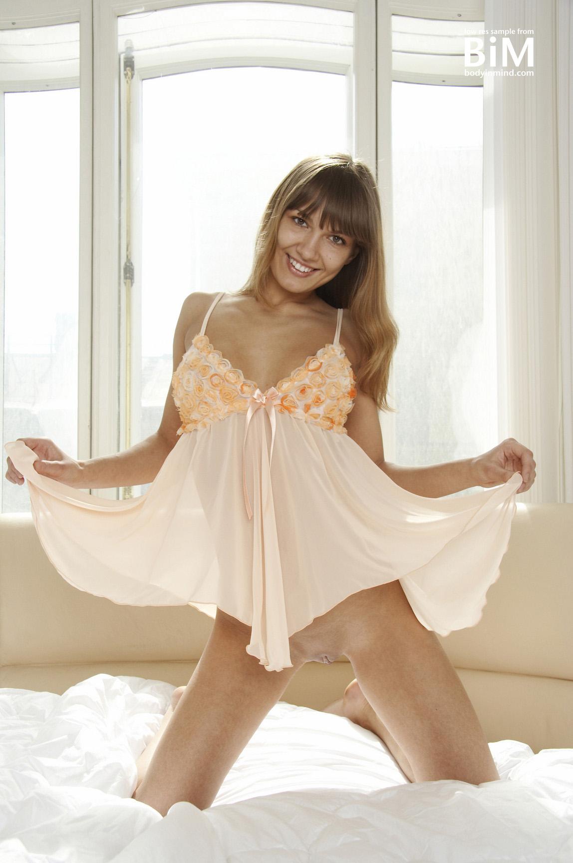 Athena Big Boobs Peach Seethrough Nightie for Body in Mind