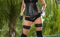 Ava Addams Huge Boobs Black Corset Stockings and Boots