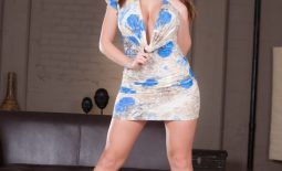 Booklyn Chase Huge Tits in Blue Flowery Minidress