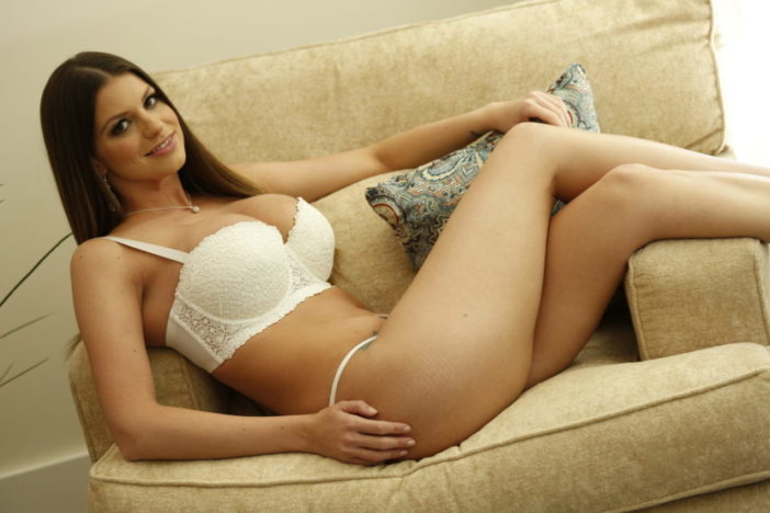 Brooklyn Chase Big Tits White Bra and Panties