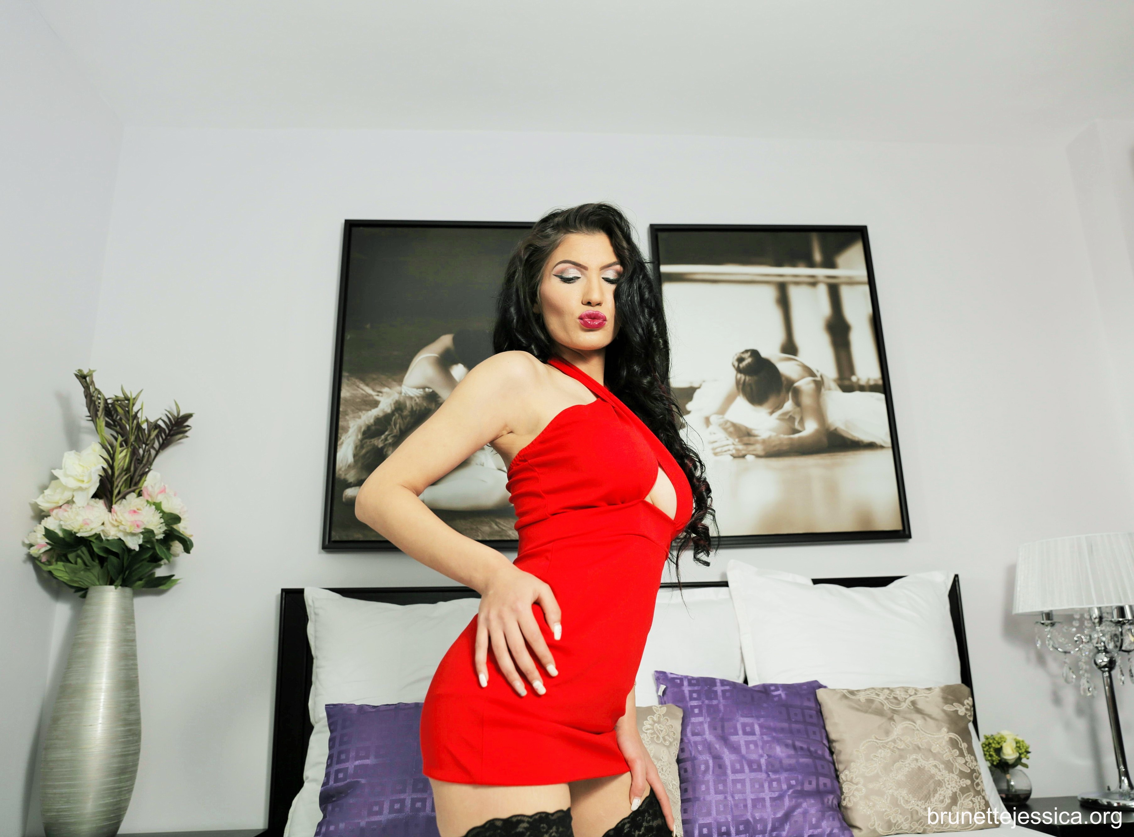 Brunette Jessica Big Boobs Tight Red Dress and Stockings