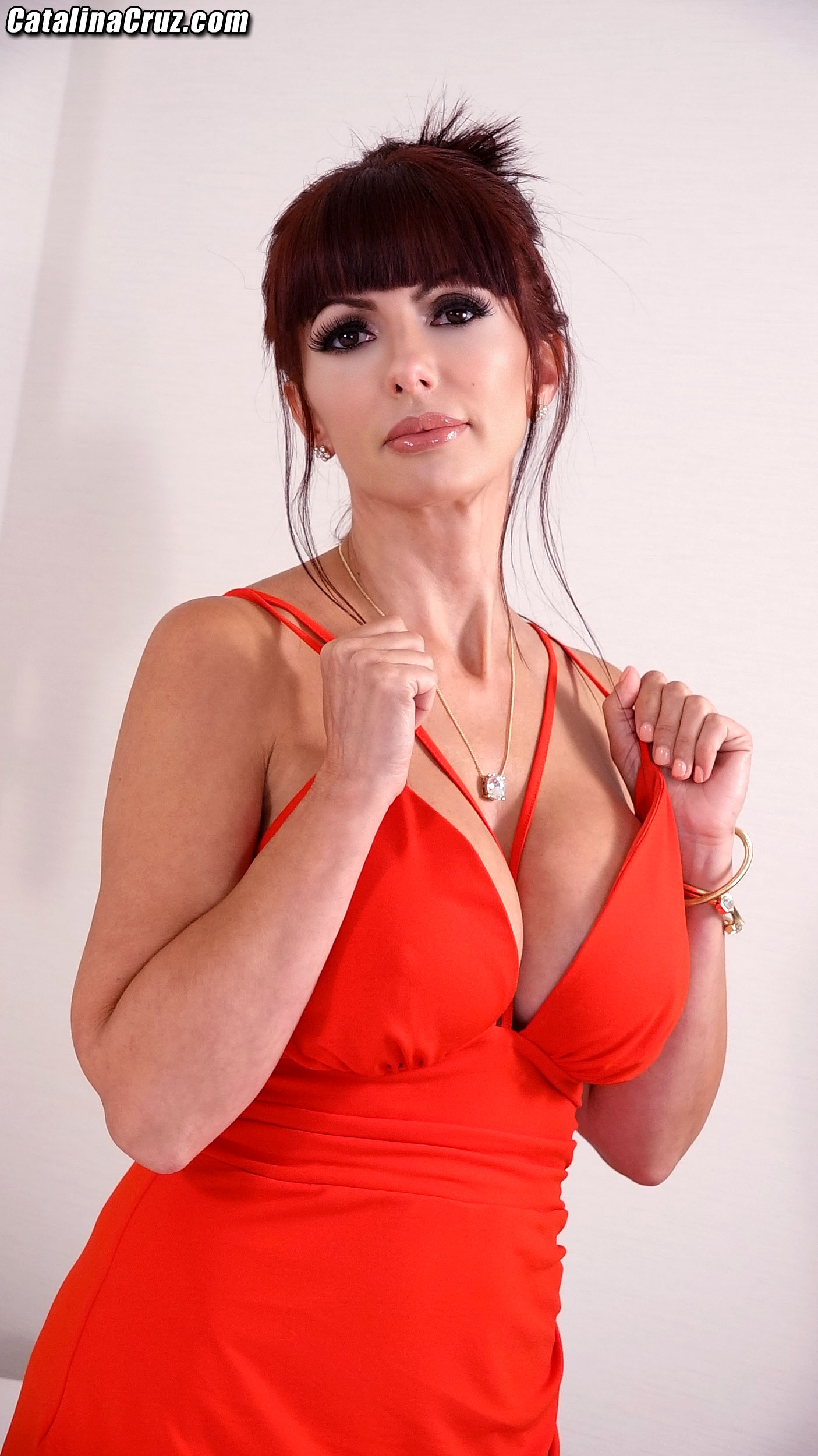 Catalina Cruz Huge Boobs in Sexy Red Dress