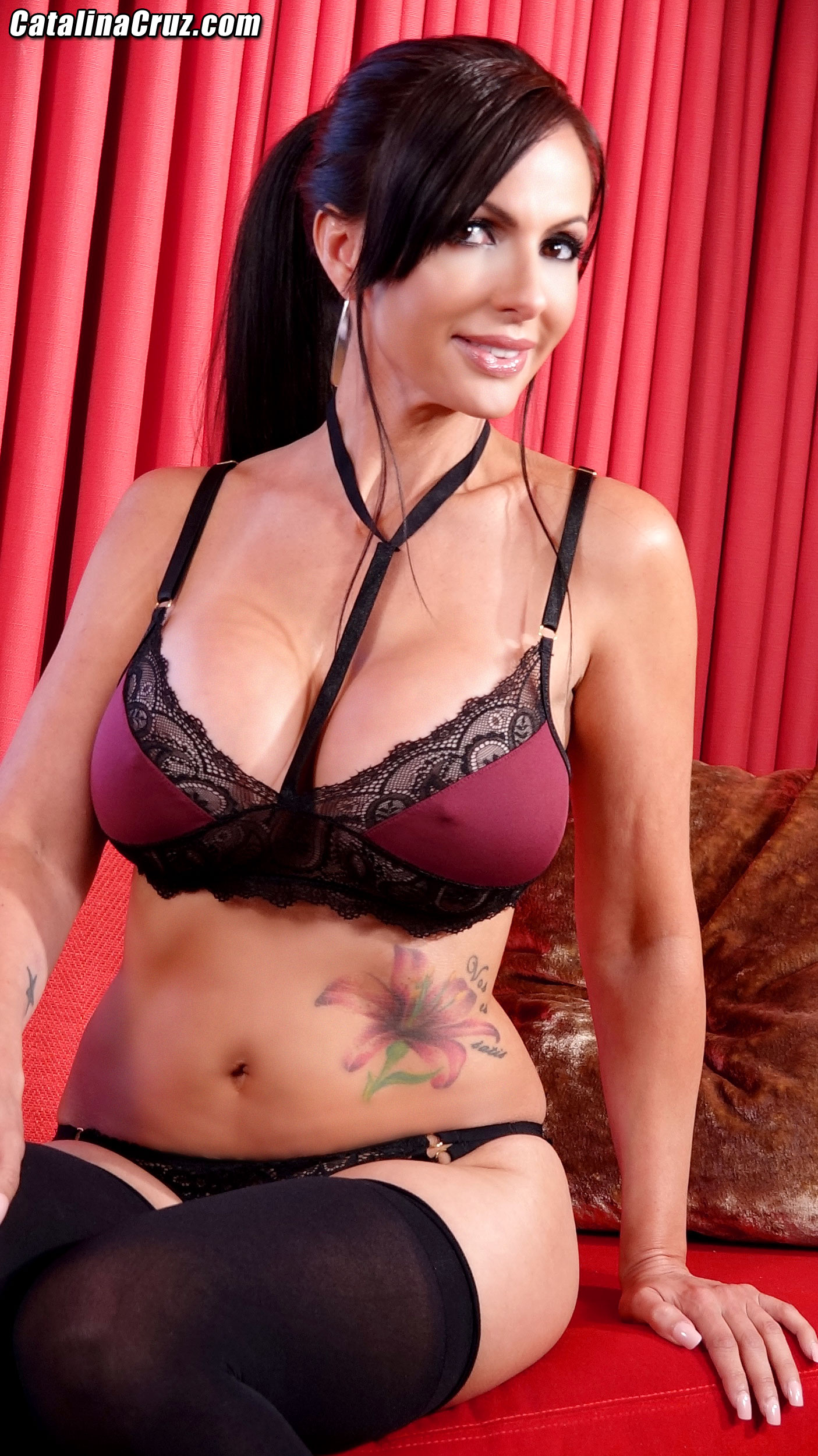 Catalina Cruz Huge Tits Maroon Bra and Stockings