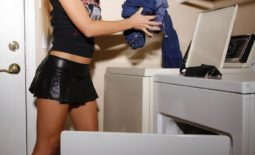 Cherie DeVille Big Boobs Tiny Black Miniskirt in the Laundry