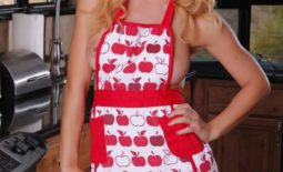 Cherie Deville Big Boobs Behind Apron in the Kitchen