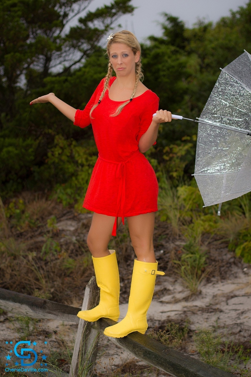 Cherie Deville Big Boobs Red Minidress and Umbrella