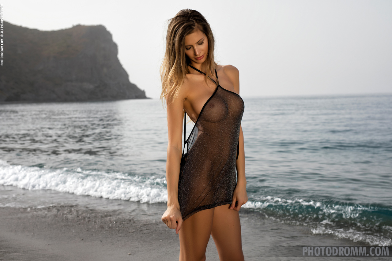 Claudia Big Boobs in a Black Mesh Dress for Photodromm