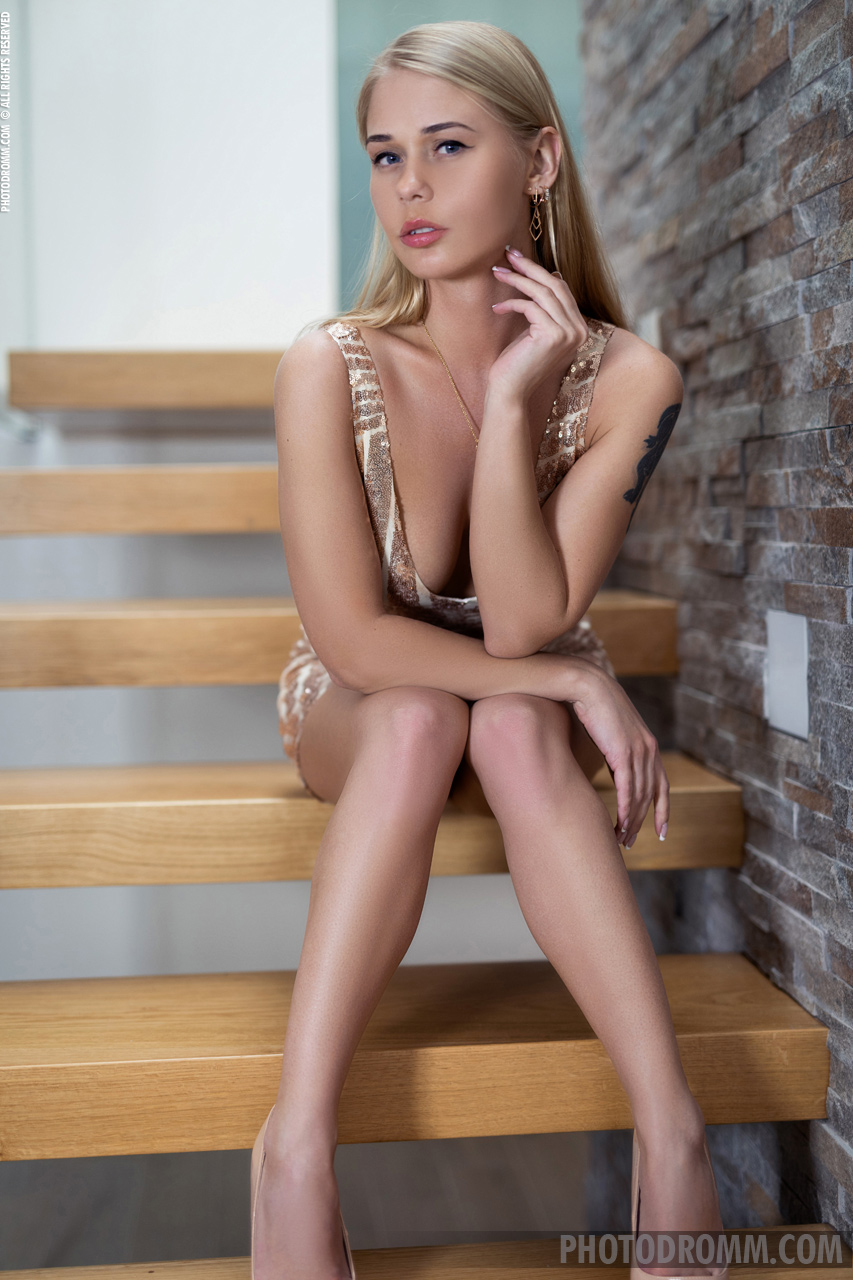 Darina Naked Boobs on the Stairs for Photodromm