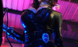 Denise Milani Huge Boobs in Black Leather for Actiongirls