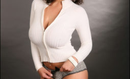 Denise Milani Huge Boobs in a White Cardigan