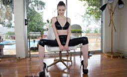 Emily Bloom Big Boobs Black Wetlook Leggings and Heels