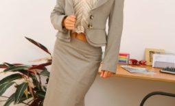 Emma Twigg Big Boob Secretary in Grey Suit