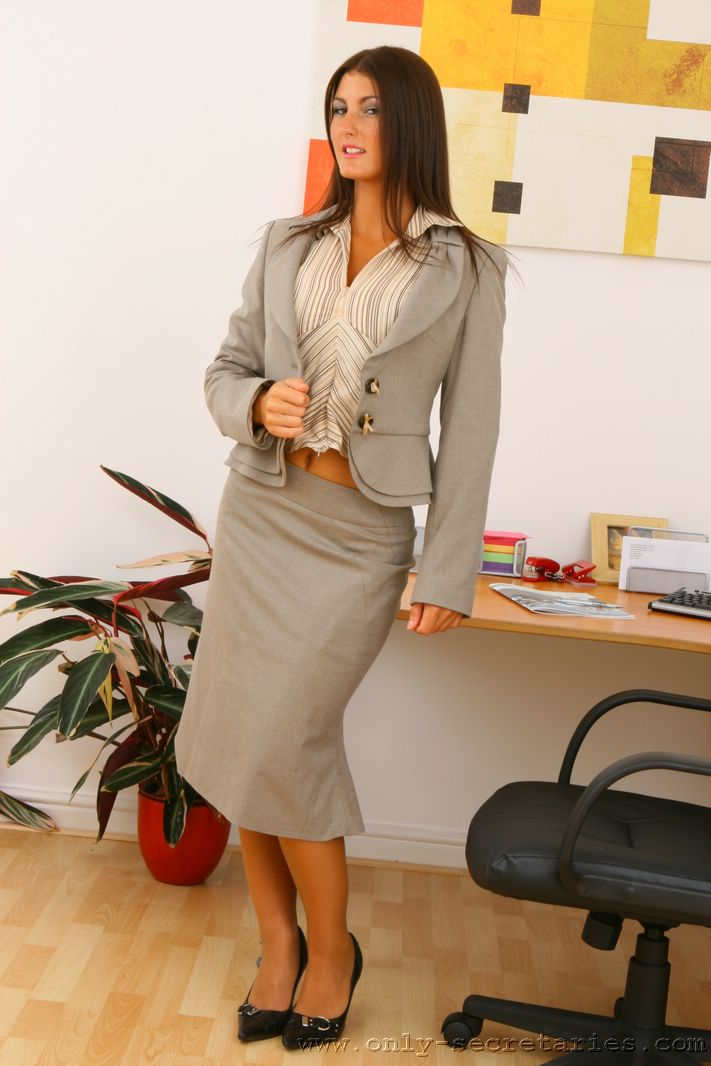 Emma Twigg Big Boob Secretary in Grey Suit