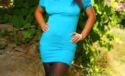 Emma Twigg Nice Big Boobs Blue Dress and Tights in the Sunshine