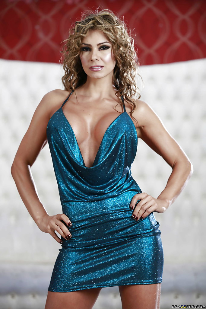 Esperanza Gomez Big Tits Spring from Blue Sparkly Minidress