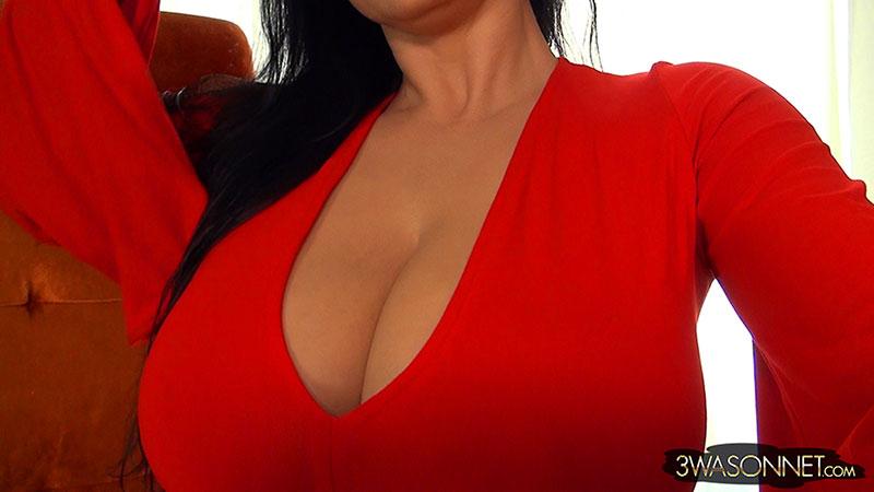 Ewa Sonnet Big Boobs in Red Minidress