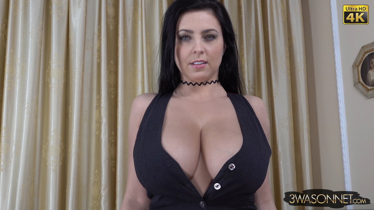 Ewa Sonnet Huge Breasts Buttons Come Off Tight Black Dress