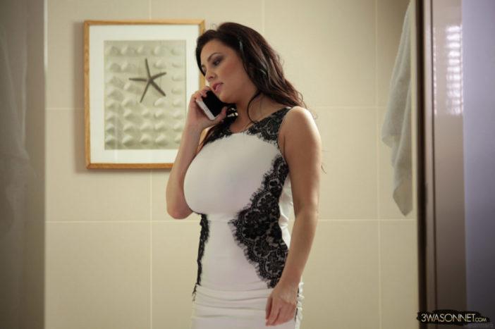 Ewa Sonnet tits tight in white dress