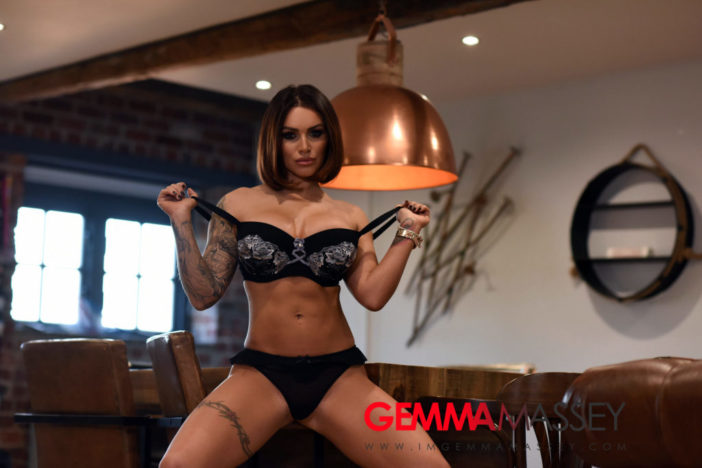 Gemma Massey Big Boobs Come out of Sexy Black Lingerie