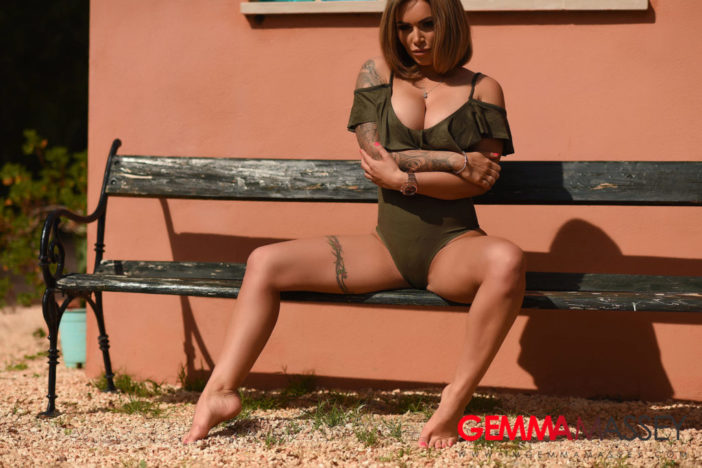 Gemma Massey Big Boobs Get Naked Out of Green Swimsuit