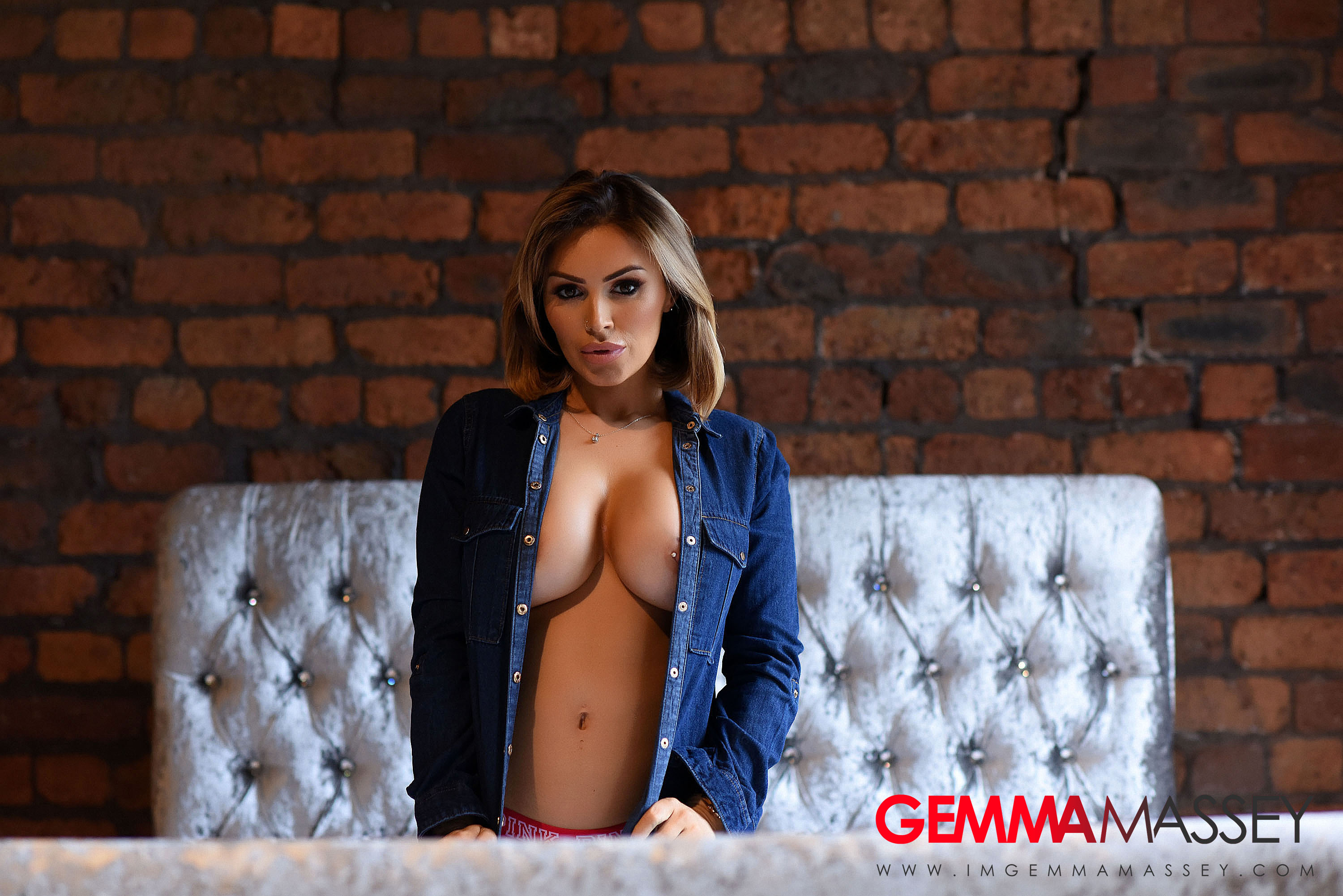 Gemma Massey Big Boobs Get Naked from a Denim Shirt