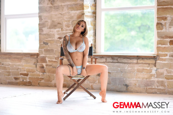 Gemma Massey Big Boobs Lacy Turquoise Bra and Panties
