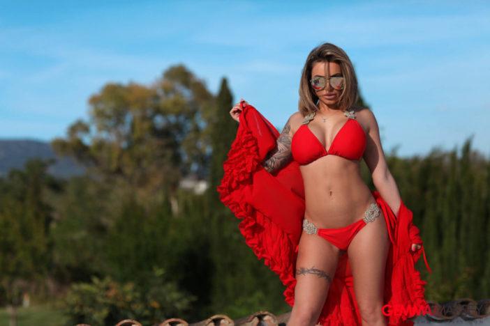 Gemma Massey Big Boobs Red Bikini Hot and Horny