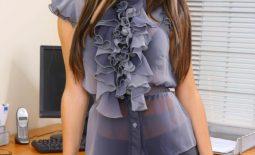 Gemma Massey Big Boobs Silky Shirt and Miniskirt Secretary Looks Hot