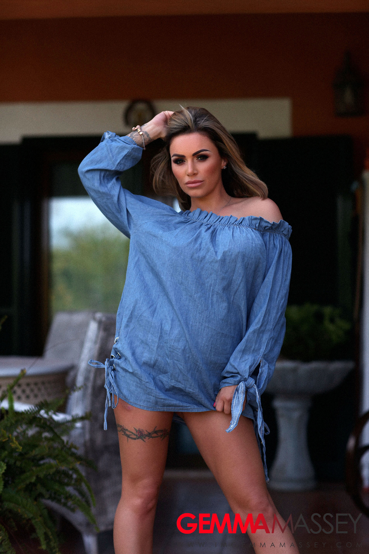 Gemma Massey Big Boobs in Sexy Bllue Top
