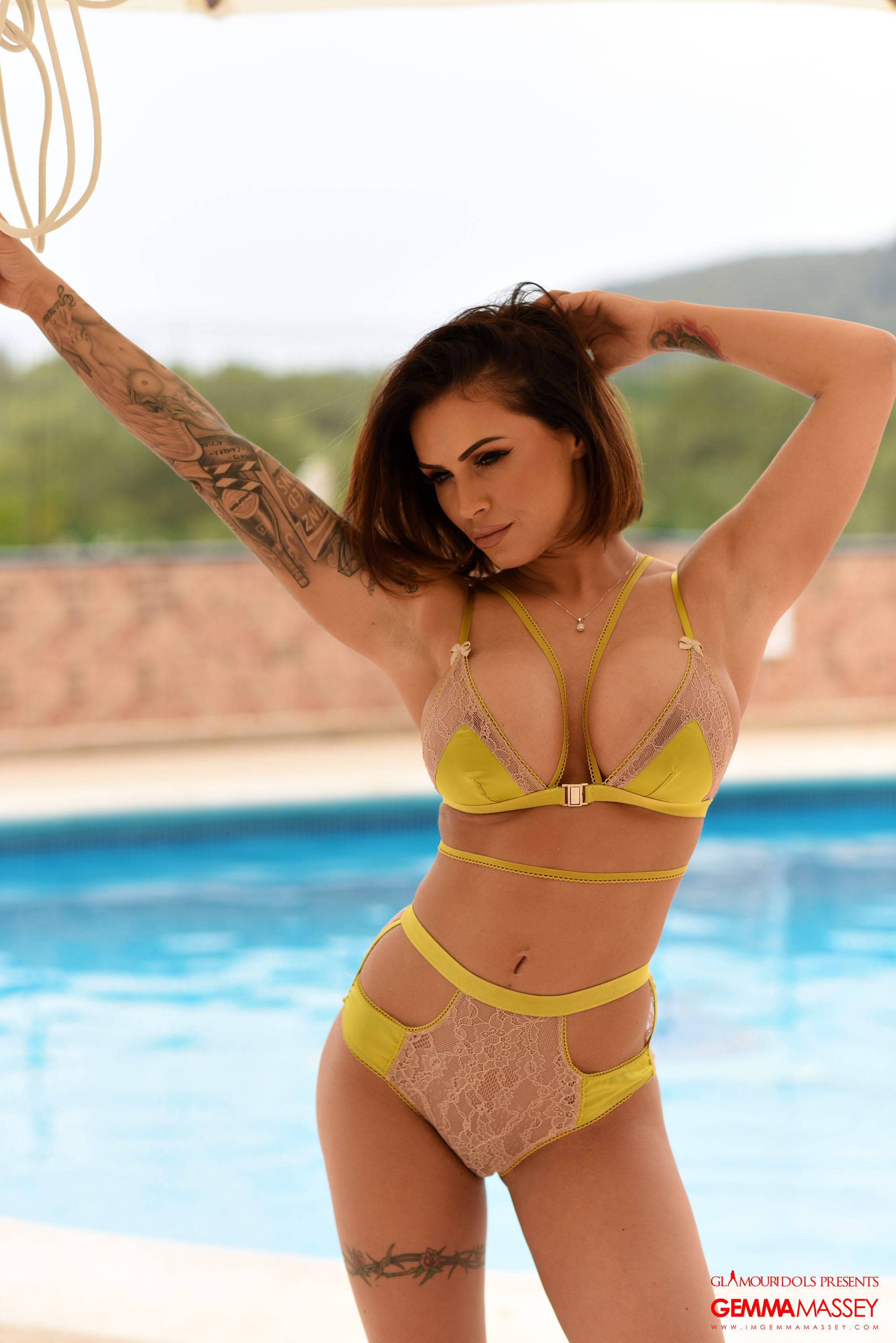 Gemma Massey Big Ttis Yellow Bikini by the Pool