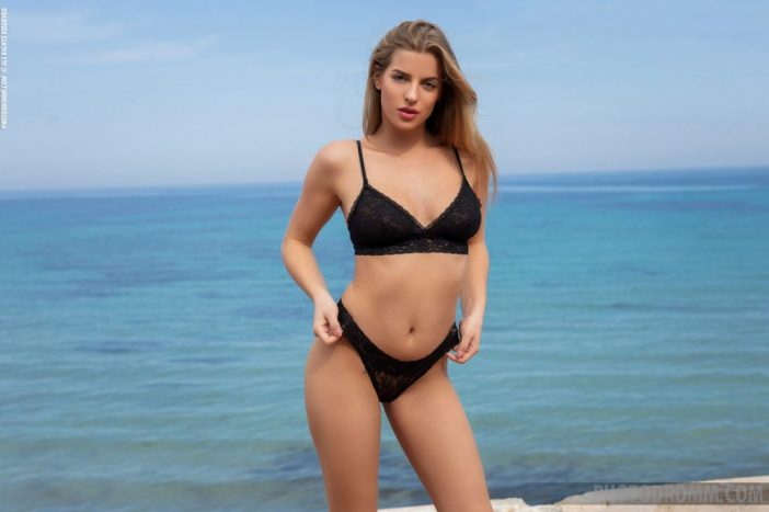 Heather Strips Naked from Black Lacy Lingerie for Photodromm