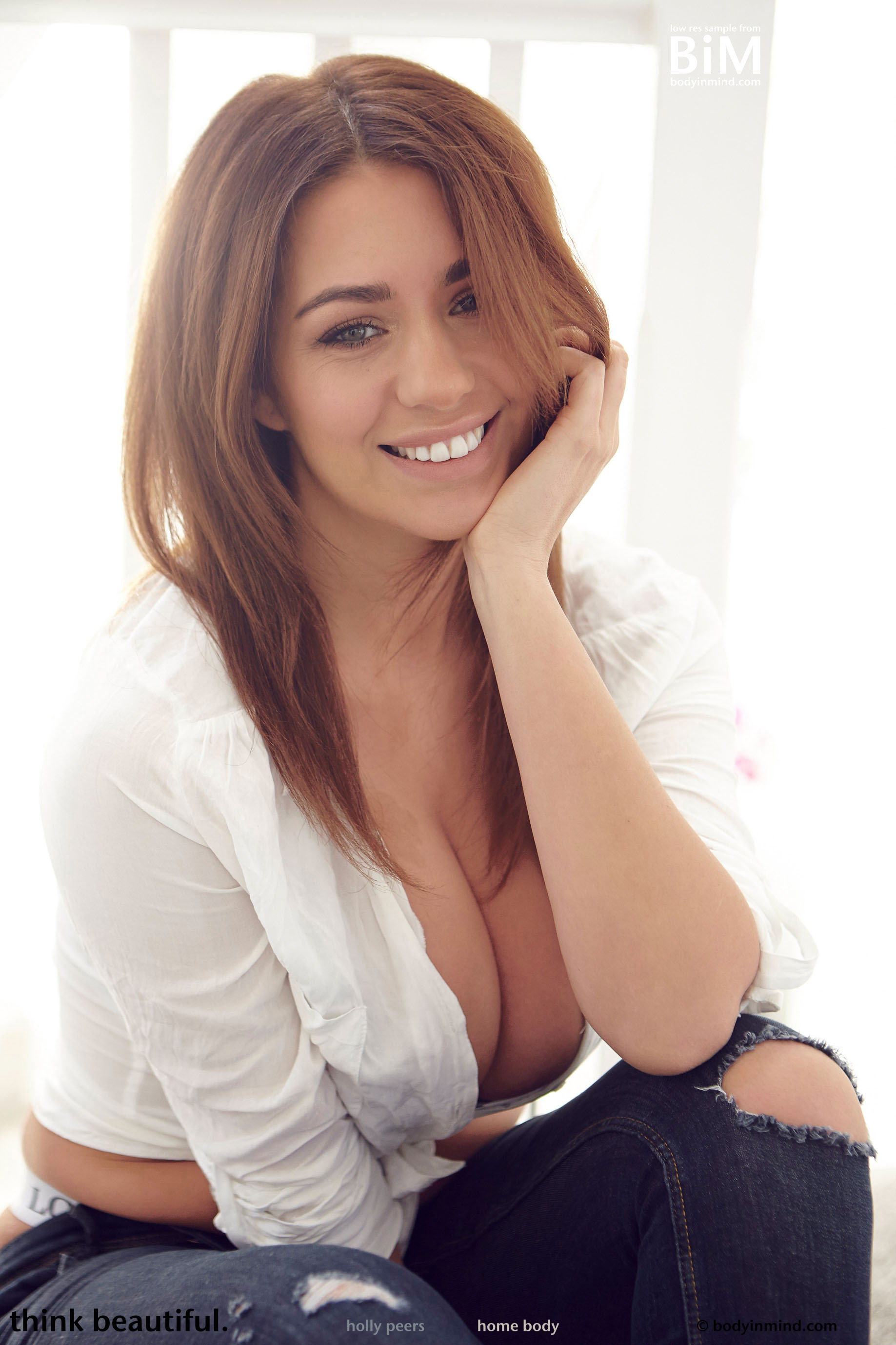 Holly Peers Big Breasts Revealed from White Shirt and Black Bra
