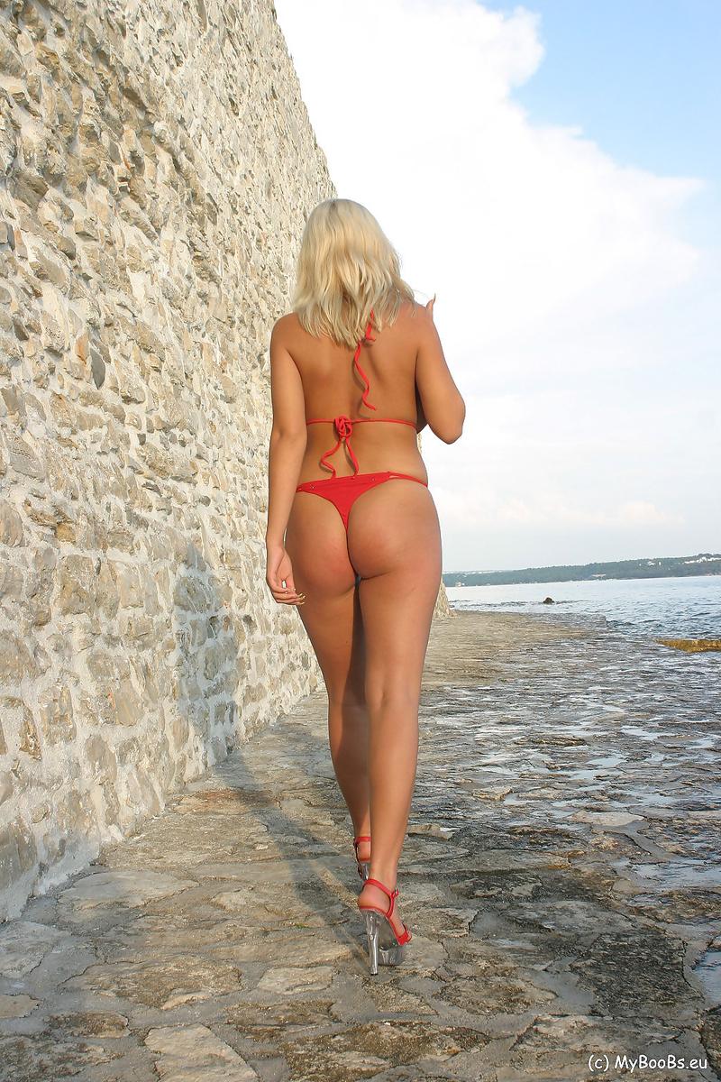 Ines Cudna Big Tits in a Red Bikini