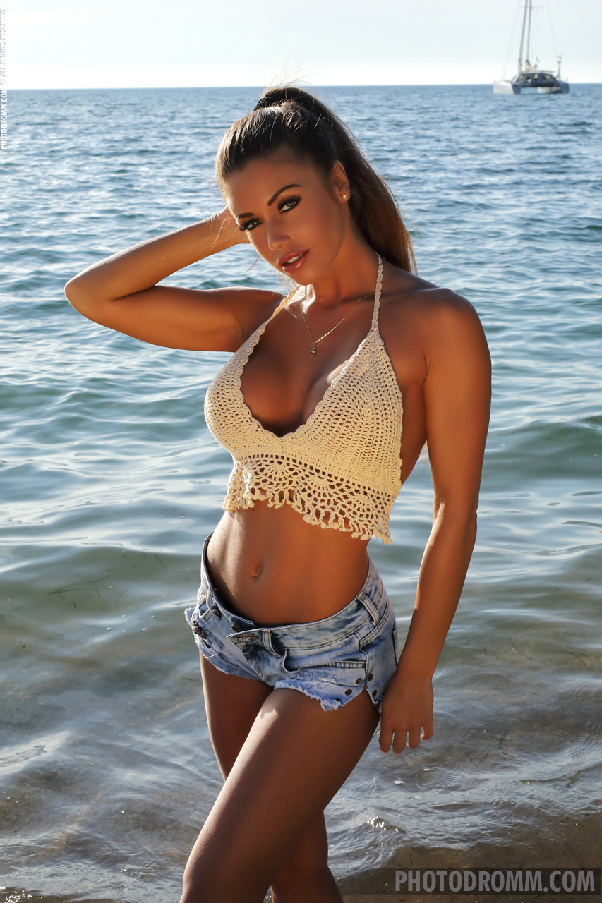 Isabelle Big Boobs Crochet Bra and Denim Shorts on the Sea