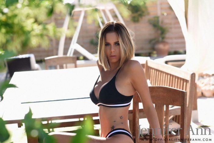 Jennifer Ann Big Tits in Black Stretchy Bikini