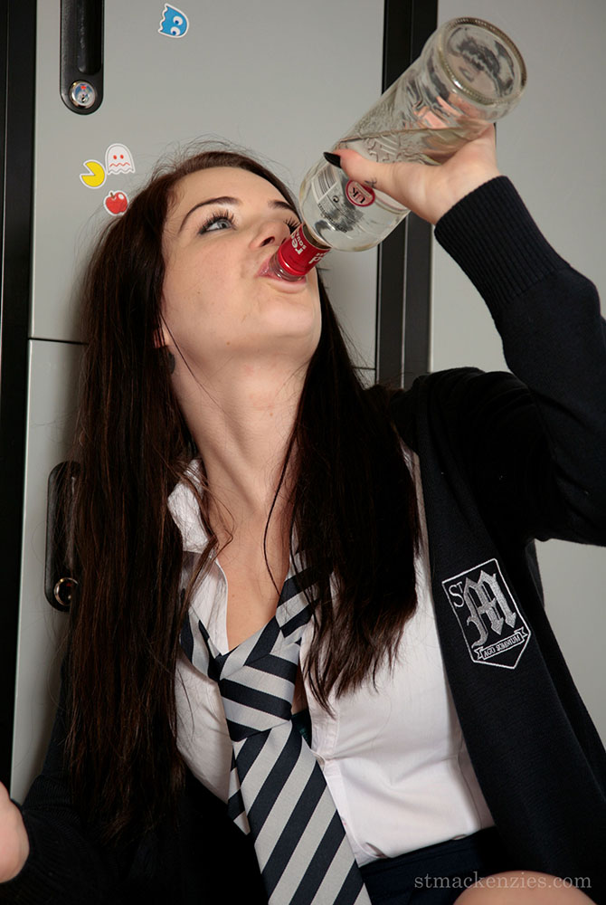 Jessica-Ann Fegan Strips Out of Her Schoolgirl Uniform whilst drinking in the Gym at St MacKenzies