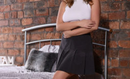 Jodie Gasson Big Boobs White Jumper Black Skirt and Boots